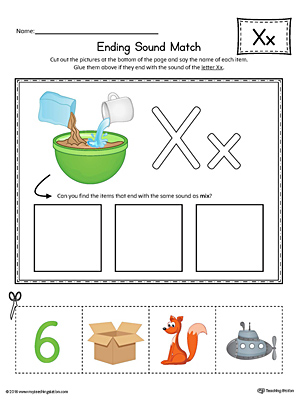 Letter X Ending Sound Picture Match Worksheet (Color)