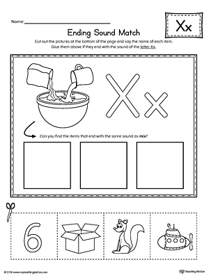 letter x ending sound picture match worksheet. Black Bedroom Furniture Sets. Home Design Ideas