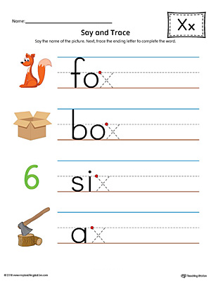 Say and Trace: Letter X Ending Sound Words Worksheet (Color)