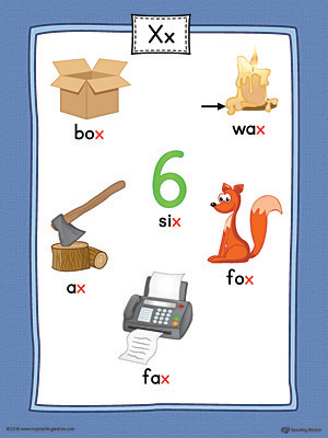 words with the letter x letter x word list with illustrations printable poster 25773 | Letter X Word List with Illustrations Poster Printable Color