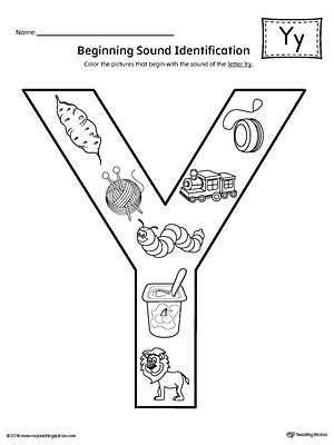 Letter Y Beginning Sound Color Pictures Worksheet