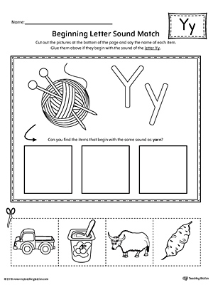 Letter Y Beginning Sound Picture Match Worksheet