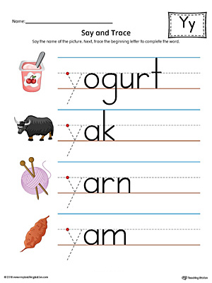 Say and Trace: Letter Y Beginning Sound Words Worksheet (Color)