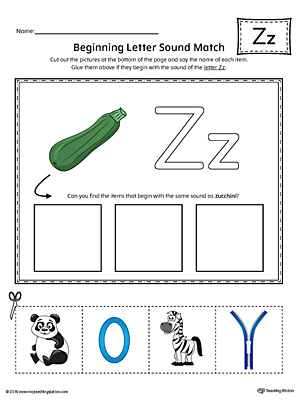 Letter Z Beginning Sound Picture Match Worksheet (Color)