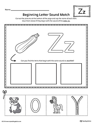 Letter Z Beginning Sound Picture Match Worksheet