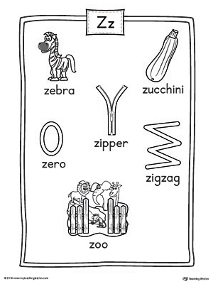 words with the letter z letter z word list with illustrations printable poster 1743