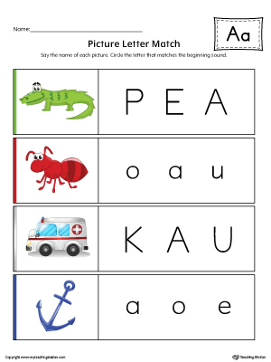 Picture Letter Match: Letter A Worksheet (Color)