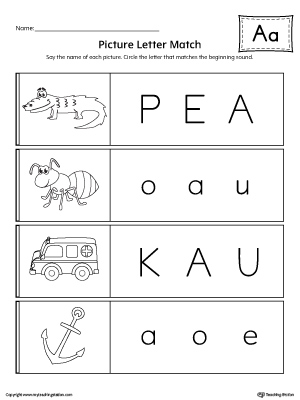 Picture Letter Match: Letter A Worksheet