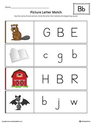 Picture Letter Match: Letter B Worksheet (Color)