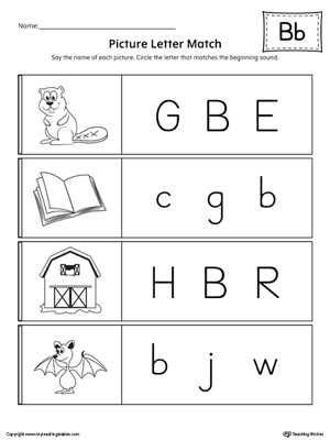 Picture Letter Match: Letter B Worksheet