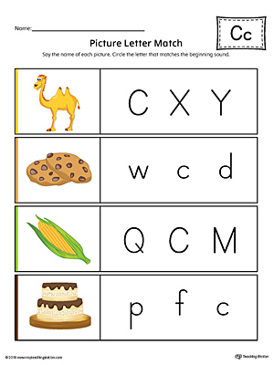 Picture Letter Match: Letter C Worksheet (Color)