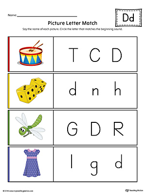 Picture Letter Match: Letter D Worksheet (Color)