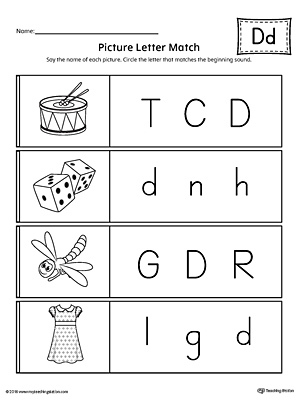 Use the Picture Letter Match: Letter D printable worksheet to practice recognizing the beginning sound of the letter D.