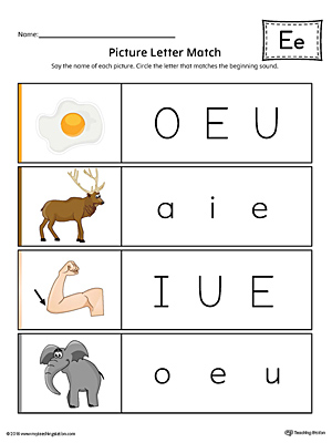 Picture Letter Match: Letter E Worksheet (Color)