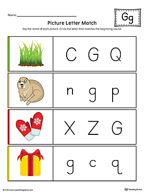 Picture Letter Match: Letter G Worksheet (Color)