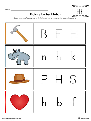 Alphabet letter h formation card printable color picture letter match letter h worksheet color thecheapjerseys