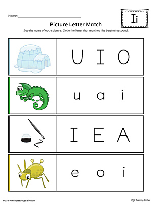 Picture Letter Match: Letter I Worksheet (Color)
