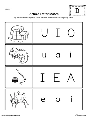 Picture Letter Match: Letter I Worksheet