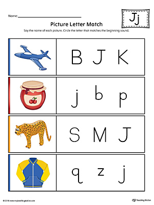 Picture Letter Match: Letter J Worksheet (Color)