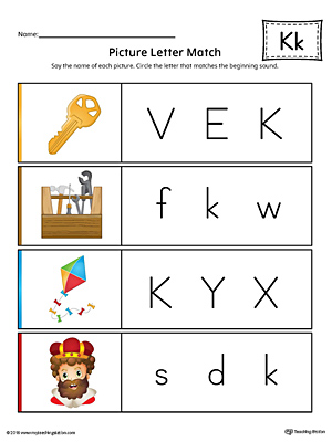 Picture Letter Match: Letter K Worksheet (Color)