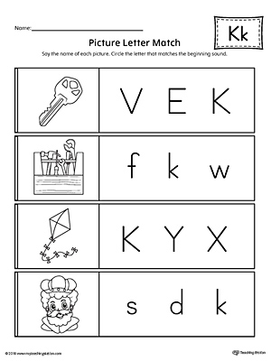Picture Letter Match: Letter K Worksheet