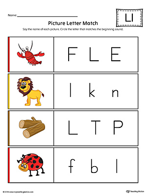 Picture Letter Match: Letter L Worksheet (Color)