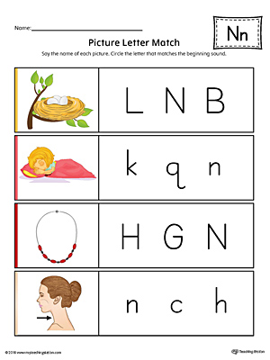 Picture Letter Match: Letter N Worksheet (Color)