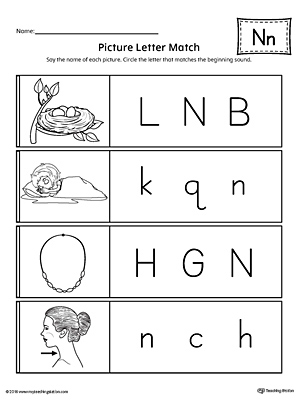 Picture Letter Match Letter N Worksheet Myteachingstation Com
