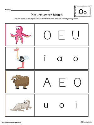 Picture Letter Match: Letter O printable worksheet will help your preschooler practice recognizing the beginning sound of the letter O.