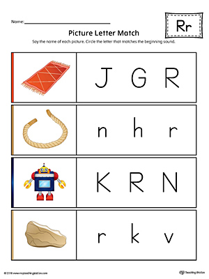 Picture Letter Match: Letter R Worksheet (Color)