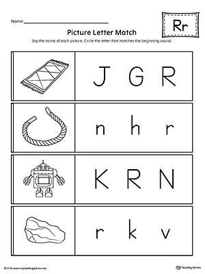 Picture Letter Match: Letter R Worksheet