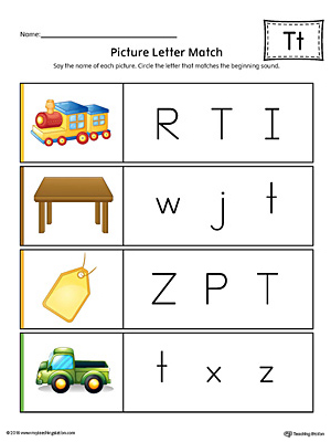 Picture Letter Match: Letter T Worksheet (Color)