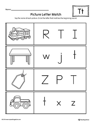 Picture Letter Match: Letter T Worksheet