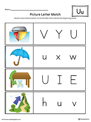Picture Letter Match: Letter U Worksheet (Color)
