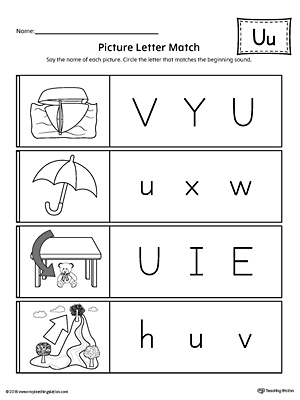 Picture Letter Match: Letter U Worksheet | MyTeachingStation.com
