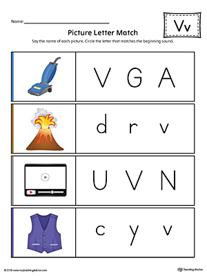 Picture Letter Match: Letter V Worksheet (Color)