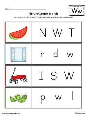 Picture Letter Match: Letter W Worksheet (Color)