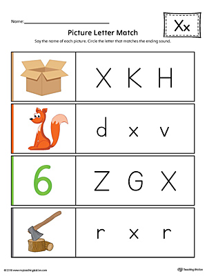 Picture Letter Match: Letter X Worksheet (Color)
