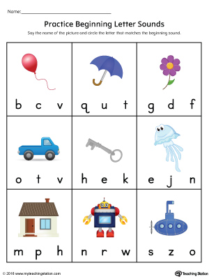 Practice Beginning Letter Sound Worksheet in Color ...