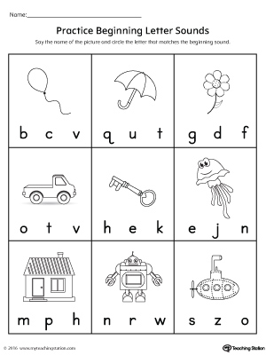 Practice Beginning Letter Sound Worksheet Myteachingstation