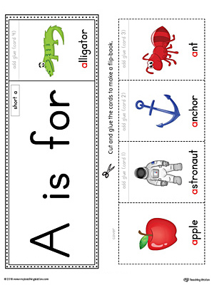 Short Letter A Beginning Sound Flipbook Printable (Color)