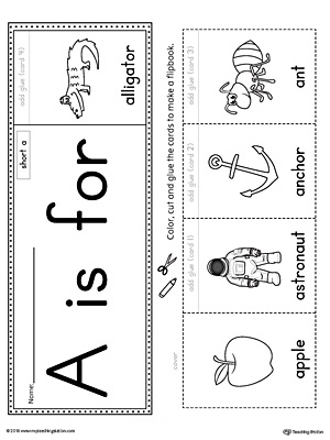 Short Letter A Beginning Sound Flipbook Printable