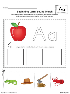 Short Letter A Beginning Sound Picture Match Worksheet (Color)