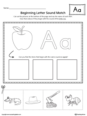 Short Letter A Beginning Sound Picture Match Worksheet