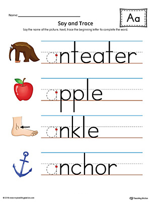 Say And Trace Short Letter A Beginning Sound Words Worksheet Color