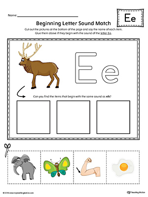 Short Letter E Beginning Sound Picture Match Worksheet (Color)