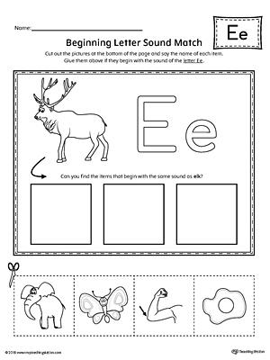 short letter e beginning sound picture match worksheet. Black Bedroom Furniture Sets. Home Design Ideas