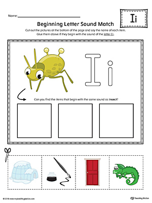 Short Letter I Beginning Sound Picture Match Worksheet (Color)