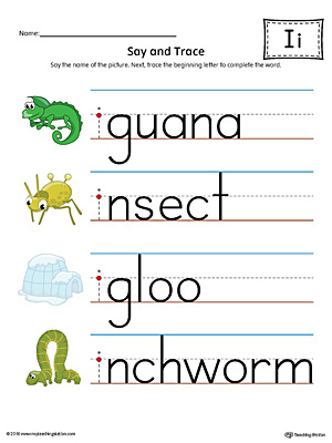 Say And Trace Short Letter I Beginning Sound Words Worksheet Color