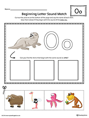 Short Letter O Beginning Sound Picture Match Worksheet (Color)
